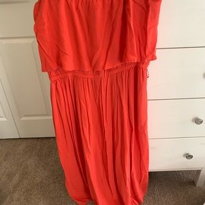 Midi/Maxi burnt orange off the shoulder dress